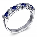 7 Stone Band with Diamonds & Blue Sapphires
